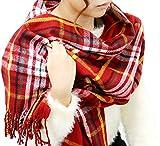 (マルカワジーンズパワージーンズバリュー) Marukawa JEANS POWER JEANS VALUE マフラー チェック 大判 ストール ユニセックス 男女兼用 4color Free レッド