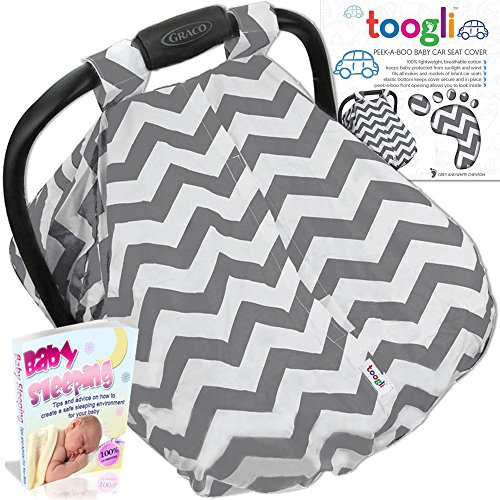 Baby Carseat Canopy by Toogli (gray & white chevron) - Best Infant Car Seat Cover for Boys, Girls|Fits all Major Brands - Graco, Britax, Safety 1st, Chico, Evenflo, Peg-Perego (Intrust 35 Infant Car Seat compare prices)