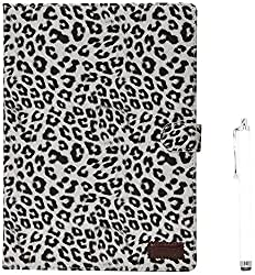 Apexel Leopard Pattern PU Leather Flip Case Cover with Card Slots Holder for iPad Air 2 2014 White with Touch Pen