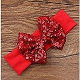 Cinta ajustable de algodón, gran lazo y lentejuelas, diseño de sobre, color rojo