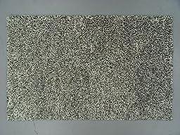 Lifestyles LS-RJ15 5 x 8 ft. Kavera 100 Percent Long Fiber Wool Hand Made Rug, Black & White