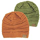Winter White Ivory Thick Slouchy Knit Oversized Beanie Cap Hat,One Size,2 Pack: Olive/Rust