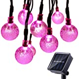 Qedertek Solar String Lights Outdoor,Bubble Globe Solar Lights 20foot 30 LED String Light Crystal Ball Lighting for Fairy Garden, Patio, Wedding, Party and Holiday Decorations (Pink) (Color: Pink)