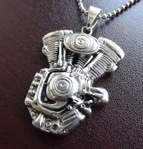 Harley Indian style Motorcycle V TWIN Motor Engine Pendant Necklace Biker Gift