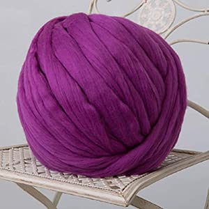 Giant Wool Yarn Chunky Merino Arm Knitting Super Soft Wool Yarn Bulky Wool Roving Purple 8 lbs (Color: Purple, Tamaño: 8 lbs)