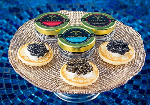 FATHERS-DAY-SPECIAL-CC-SAMPLER-3-jars-Siberian-Osetra-Premium-Sturgeon-Royal-Osetra-Caviar-3-x-20g-ea-with-36pcs-Russian-Blini-Spoon