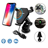 Wireless Car Charger, Anderw Qi Fast Wireless Charging Car Mount Gravity Linkage Air Vent Phone Holder for iPhone X/8/8 Plus, Samsung Galaxy Note 8/5,S8+,S7,S6 Edge+,Compatible with All Qi-Enabled (Color: Black)
