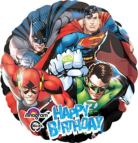 "Anagram International Justice League Happy Birthday Foil Balloon Pack, 18"", Multicolor"