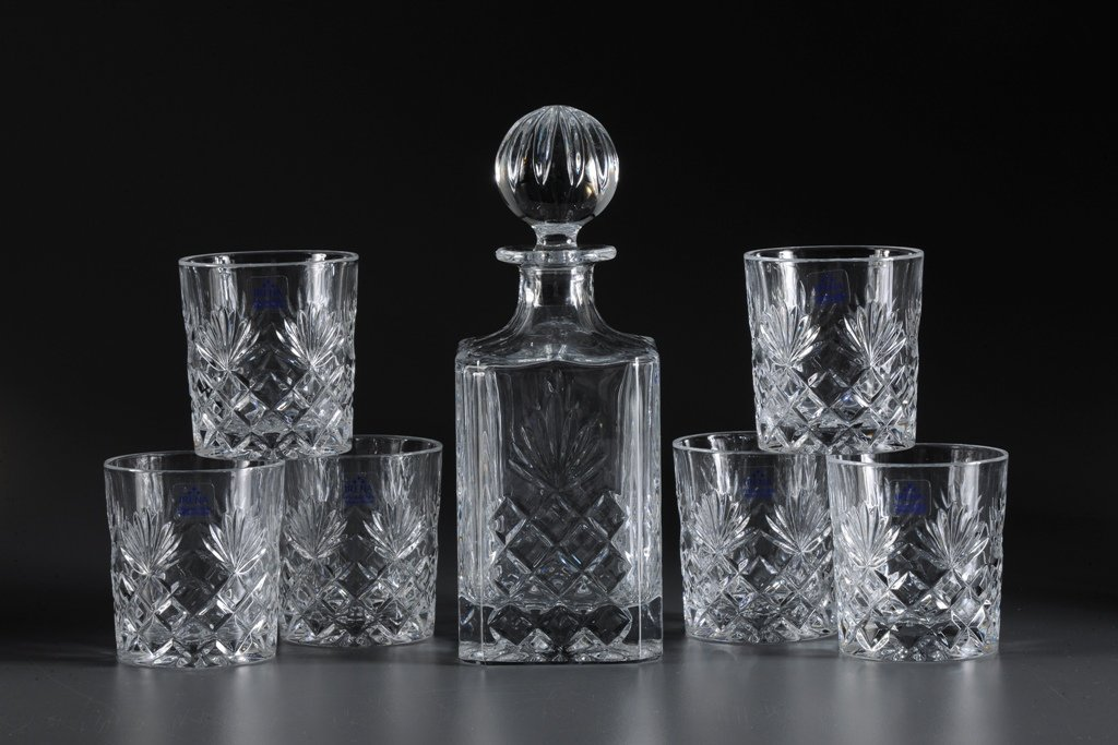Amazon.com | Crystal Clear Whiskey Set of 7 Decanter & 6 Glasses ...