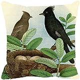 Leaf Designs - Black And Brown Bird Cushion Cover