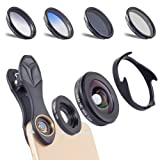 APEXEL 6 in 1 Camera Lens Kit,0.6X Super Wide Angle Lens & 10X Macro Lens+CPL Filter+GND Blue+GND Gray+ND8 Filter Cell Phone Camera Lens for iPhone Samsung Sony and Other Smart Phones (Color: APL-16MMS)