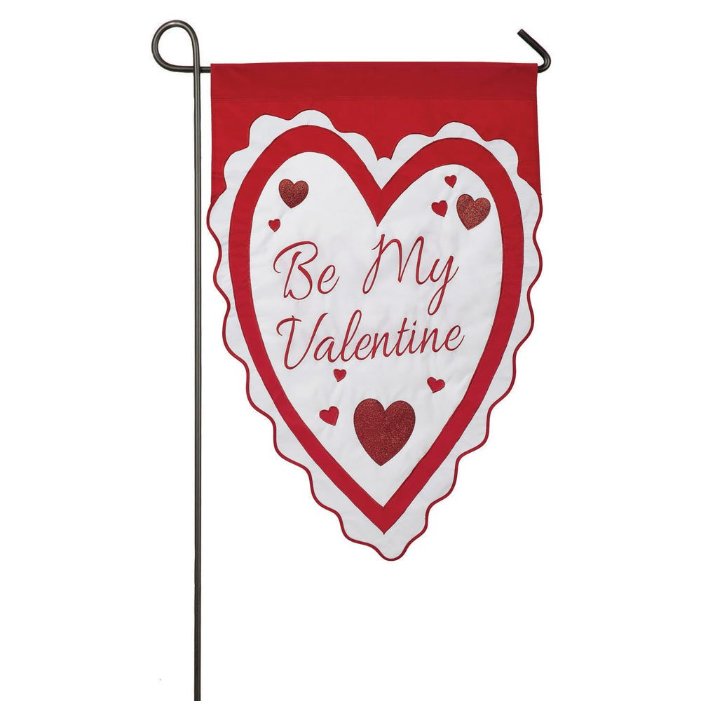 Be My Valentine Heart Sculpted Applique Garden Flag Suitable For Use With  Most Garden Flag Stands (not Included, Separate Purchase) Flag Dimensions  Are ...