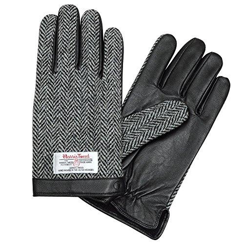 (オジエ) ozie/iTouch Gloves アイタッチグローブ・LEATHER・ハリスツイード・ウールxレザー・メンズ〔4703〕タッチパネル式デバイス・スマホ対応手袋・ヘリンボーン柄・ブラック黒 Lサイズ