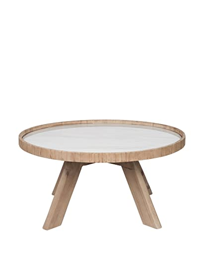 Table basse ronde nature bois et céramique blanche 79X79X40Cm