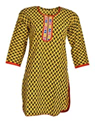 Global Women's Cotton Straight Kurta (GW66YellowB40015, Yellow, 40)