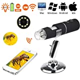 WiFi Digital USB Microscope Camera with 1000x magnification HD 2MP and 8 LED Digital Microscope for iPhone, iPad, Android Phone, Windows, Mac (Color: Black)