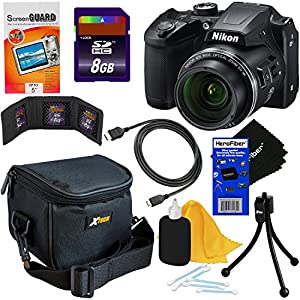 Nikon COOLPIX B500 16MP CMOS Wi-Fi, NFC Digital Camera with 40x Zoom Lens & HD Video (Black) - International Version (No Warranty) + 8pc 8GB Accessory Kit w/ HeroFiber Ultra Gentle Cleaning Cloth
