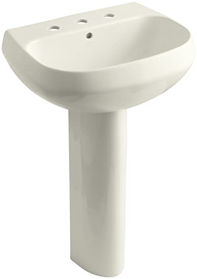 "KOHLER K-2293-8-96 Wellworth Pedestal Bathroom Sink with 8"" Centers, Biscuit"