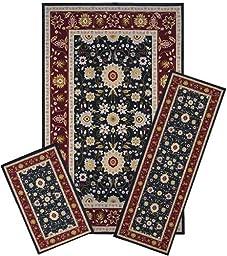 Traditional Oriental Floral Area Rug Set - 3 PC SET ! 5 feet x 8 feet , burgundy, black carpet, stain resistant, foyer, dining room, living room