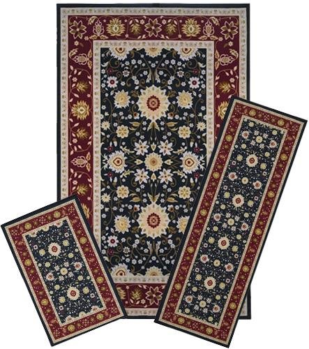 Traditional Oriental Floral Area Rug Set - 3 PC SET ! 5 feet x 8 feet , burgundy, black carpet, stain resistant, foyer, dining room, living room