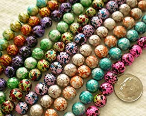50pcs Mix Artistic Metalic Design Lampwork Glass Round Beads 8mm~ Jewelry Findings ~