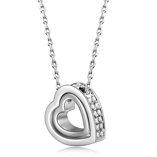 "【Deal of the Day】Mother Day Gift ""L❤VE YOU FOREVER"" White Gold Plated Dual Hearts Pendant Necklace with Austrian Crystals Women Jewelry (with Free Beautiful Silk Scarf, Happy Mother's Day)"
