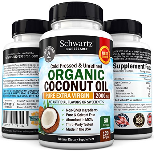 Organic-Coconut-Oil-2000mg-Highest-Grade-Extra-Virgin-Coconut-Oil-for-Skin-Healthy-Weight-Loss-Hair-Growth-Cold-Pressed-Non-GMO-Coconut-Oil-Capsules-Unrefined-Coconut-Oil-Rich-in-MCFA-and-MCT