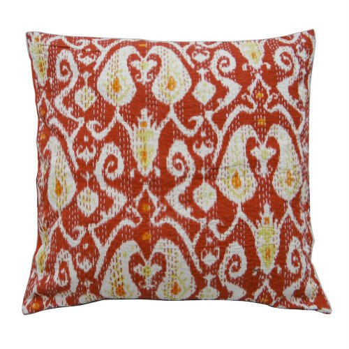 Home Décor Red Cushion Cover Traditional Ethnic Kantha Stitch Pillow Case Paisley Print Throw Indian Gift Art 24