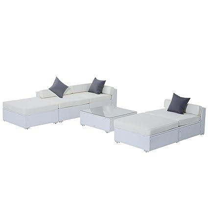 Salon de jardin canapé d'angle résine tressé poly rotin structure en fer galvanisé 6 pièces blanc neuf 61