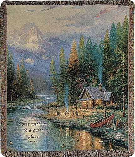 """Thomas Kinkade """"The End Of A Perfect Day Ii"""" Tapestry Throw Blanket 50"""" X 60"""" front-1023573"""