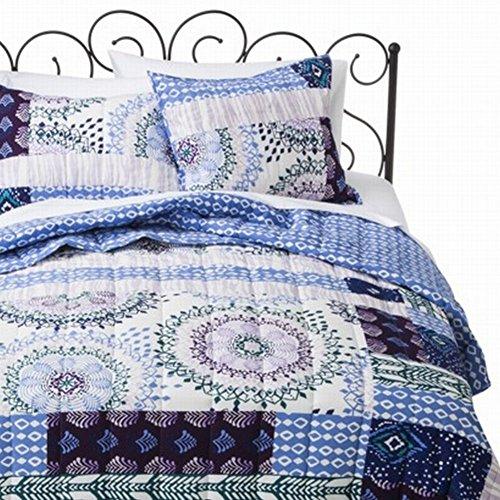 Xhilaration Full Queen Quilt Blue Teal Medallion Patchwork Comforter Bed Cover front-446244