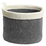 InterDesign Ellis Hand Knit Round Bin, Large, Gray/Ivory