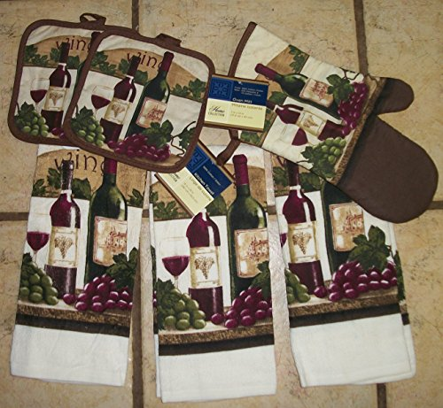 Georgeous Wine,Grape Deep Colored Kitchen Dish Towel Sets with Wine Pot Holder and Oven Mitt (Grapes Rug compare prices)