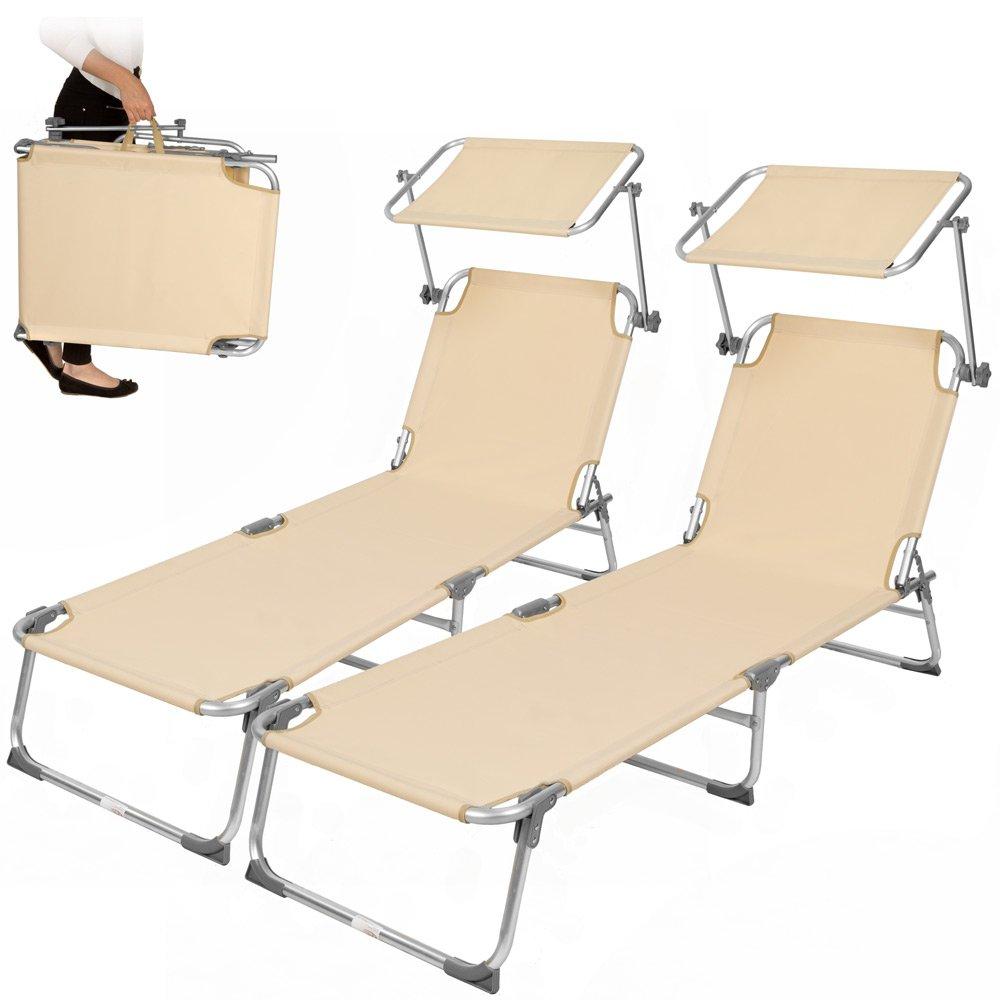 TecTake 2x Aluminium Gartenliege Sonnenliege klappbar mit Sonnendach 190cm beige online bestellen