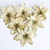 2013newestseller 6pcs Poinsettia Holiday Flower Beaded Christmas Tree Ornaments Decorations (Golden)
