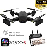 Iusun RC Drone, SG700-S 2.4Ghz 4CH Wide-angle WiFi 1080P Optical Flow Dual Camera RC Quadcopter Drone Hover (Black) (Color: Black, Tamaño: A)