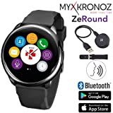 ZeRound Touchscreen Waterproof Voice-Activated Smart Watch with Speaker and Microphone: Answer Calls, Ask Siri/Google, Notifications, Alarms, Reminders, Control Music, Phone Locator (Black/Black) (Color: Black/Black)