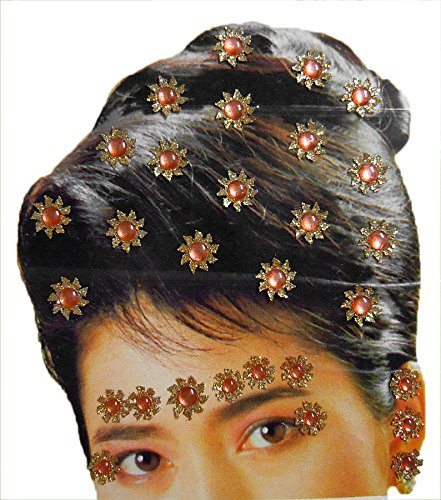 DollsofIndia Golden And Peach Color Stone Studded Stick-on Hair, Forehead And Ear Decoration For Brides (Can Be...