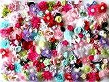 usausaのお店 福袋 造花 可愛いフラワーモチーフ・パーツいろいろ200個セット(約15~44mm)