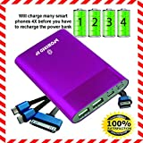 bPowered UP® ZOOM Highest Rated Power Bank - Premium Ultra-thin Portable External Battery Charger - TRUE-6000 mAh - DUAL USB - Works on all Cell Phones & Tablets - iPhone, Samsung, iPads - $20 Aluminum 3-in-1 Cord with Lightening Plug Included - (Magenta)