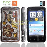 htc EVO 3Dケース shiny decoration Case (au ISW12HT対応)【ハンドメイド/デコ電】【Floral Brown(花)】