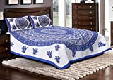Jaipuri haat Traditional Print Cotton Double Bedsheet with 2 Pillow Covers- MultiColor