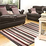 Flair Rugs Rustic Rye 100% Wool Hand Knotted Woven Striped Rug, Purple/Multi, 160 x 230 Cm