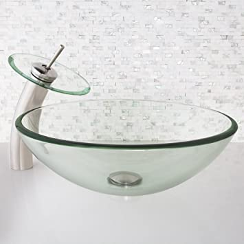 VIGO Crystalline Glass Vessel Bathroom Sink and Waterfall Faucet with Pop Up, Brushed Nickel