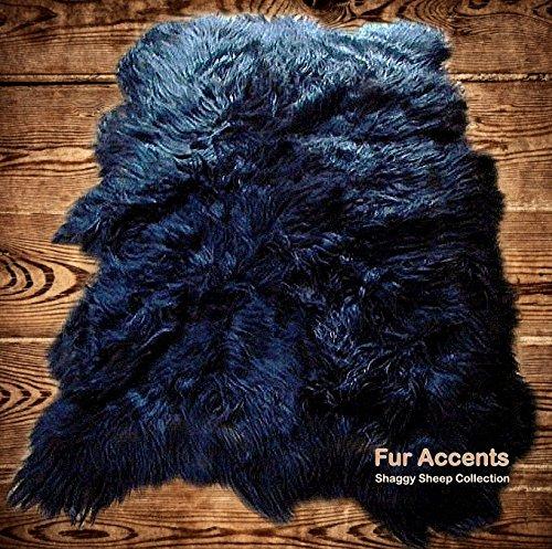 Fur Accents Shaggy Faux Fur Area Rug Random Shape Bear Skin Throw Rug Black 5'x8'