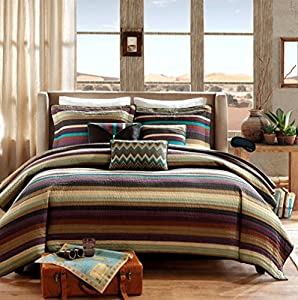 Sedona Life Southwest Turquoise Native American Quilt, Shams, 3 Decorative Pillows + Home Style Exclusive Sleep Mask Bedding Bundle (King/California King)