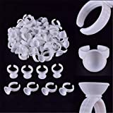 TAROMAING 100 Pack Makeup Glue Rings Tattoo Glue Holder Disposable Plastic Nail Art Eyelash Extension Rings (Color: (Small size))