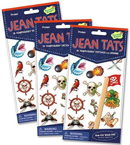 Peaceable Kingdom Jean Tats Pirates Temporary Tattoos for Fabric - 3 Pack - 1