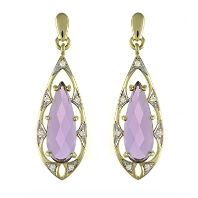 Ivy Gems 9ct Yellow Gold Pineapple Cut Amethyst and Diamond Tear Drop Baroque Style Earrings