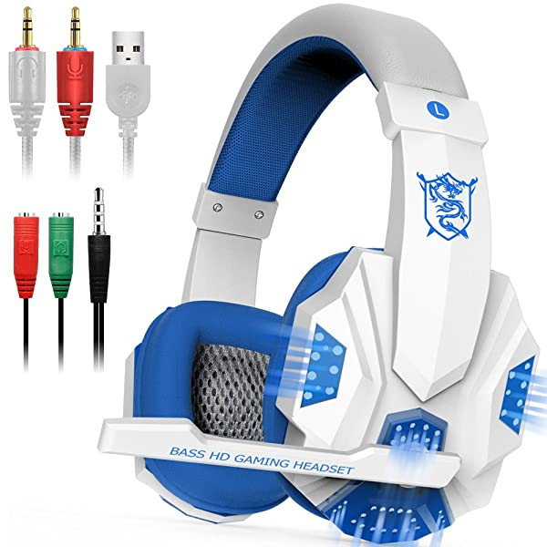 Gaming Headset with Mic and LED Light for Laptop Computer, Cellphone, PS4 and so on, DLAND 3.5mm Wired Noise Isolation Gaming Headphones - Volume Cont